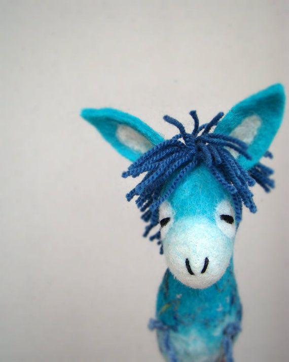 Santino  Felt Donkey. Art Marionette Handmade by TwoSadDonkeys