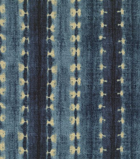 'Java Journey' fabric in Indigo by Waverly, from the En Route Collection - batik style stripe in navy blue, denim blue and cream