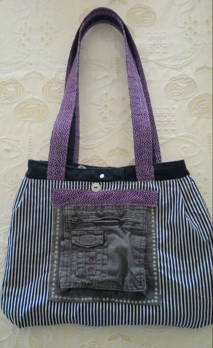 Reversible bag. Inside made from a pair of shorts.