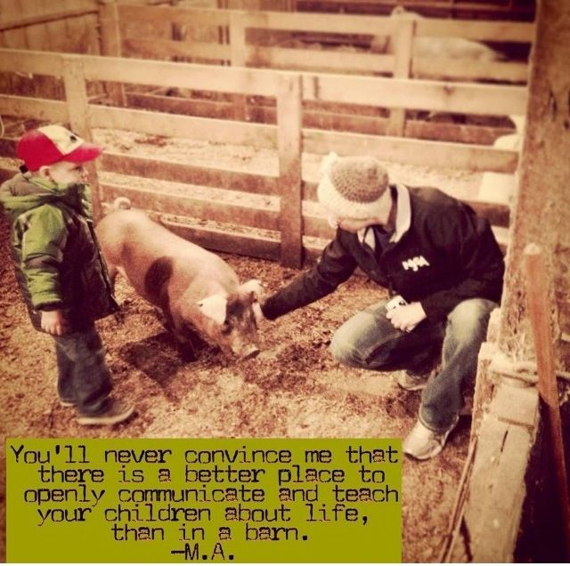 """.""""You'll never convince me that there is a better place to openly communicate and teach your children about life than in a barn."""" M.A."""