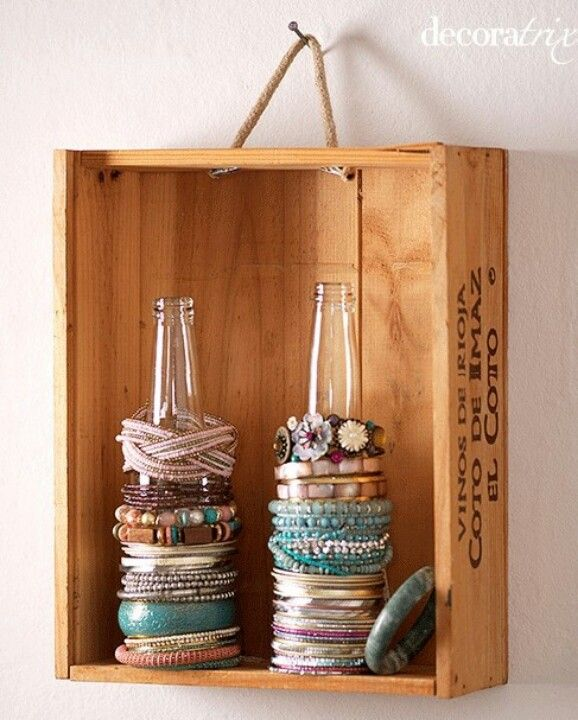 Repurpose boxes as shelves - also cute for displaying nick nacks!