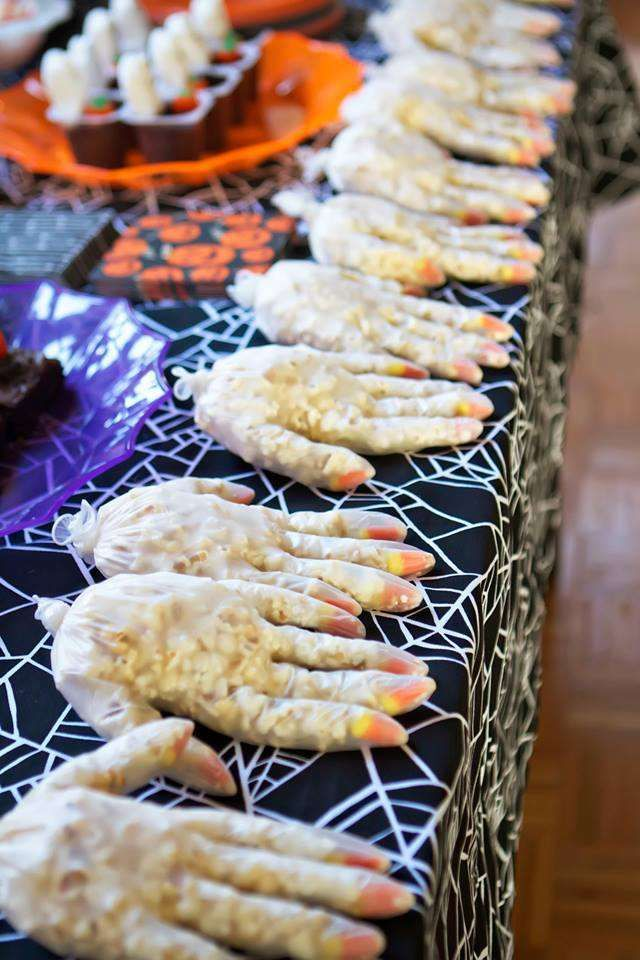 Spooky treats at a Halloween birthday party!  See more party planning ideas at CatchMyParty.com!
