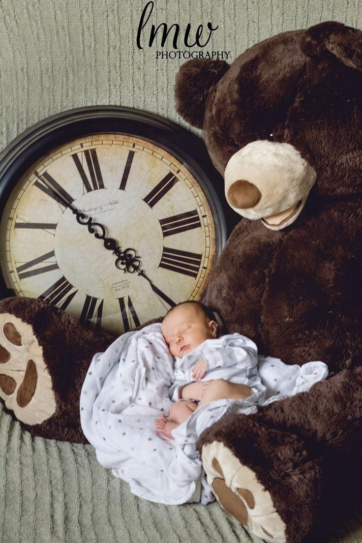 Baby L Newborn Portraits | little mrs. W photography, baby boy, time of birth, giant teddy bear