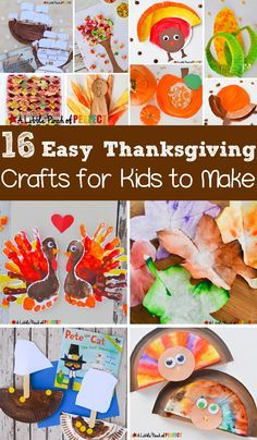 16 Easy Thanksgiving Crafts for Kids to Make this Fall: Easy craft ideas including turkeys, Mayflowers, Native Americans, fall trees, pumpkins, and more. (preschool, kindergarten, first grade)