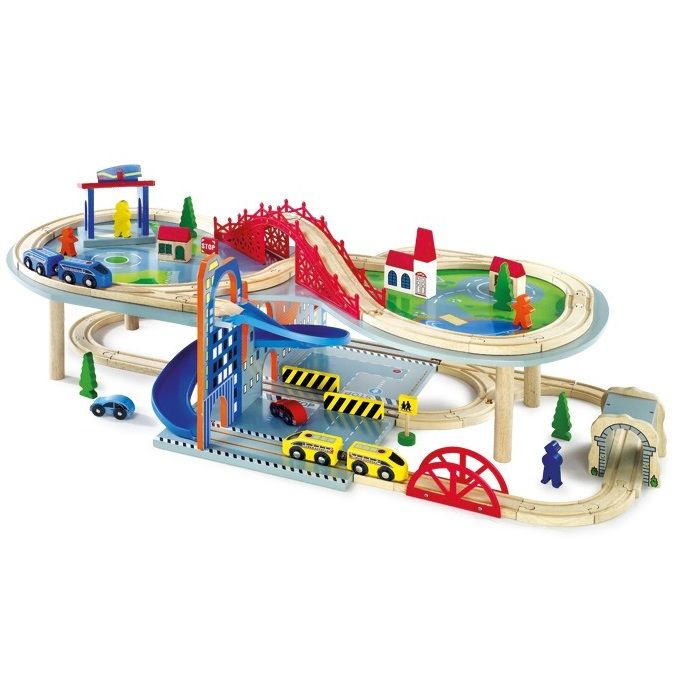 VEHI04.01.Circuito scalextric de trenes de madera de juguete de 2 pisos