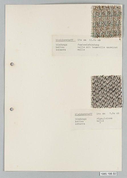 BAUHAUS ARCHIVE Gertrud Preiswerk (German (born Swiss), Basel 1902–1994) Classification: Textiles-Sample Books