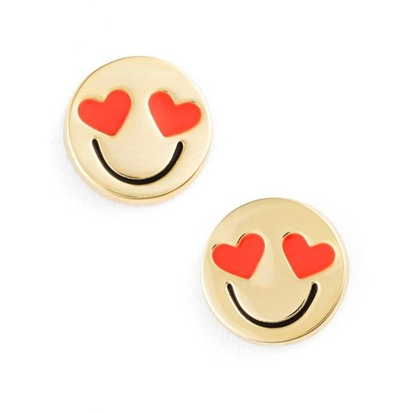 kate spade new york 'tell all' emoji stud earrings, GOLD- SMITTEN found on Polyvore