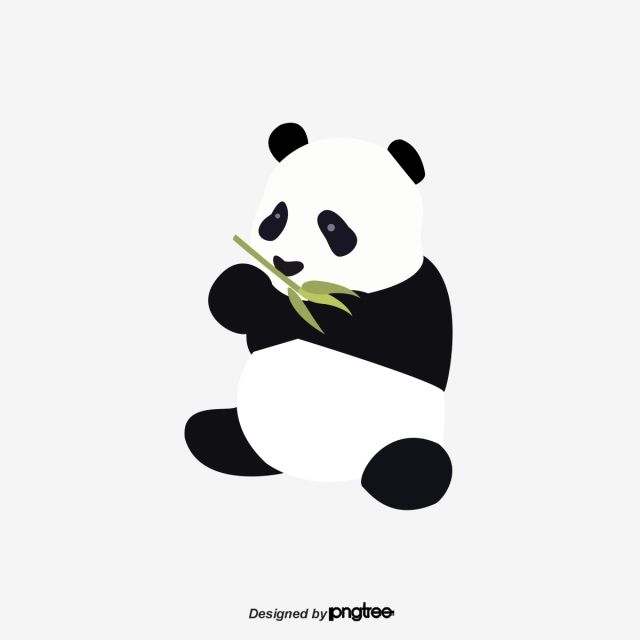 Vector Flat Black And White Giant Pandas Eat Bamboo Panda Clipart Clipart Panda Animal Png And Vector With Transparent Background For Free Download Panda Illustration Giant Panda Simple Cartoon