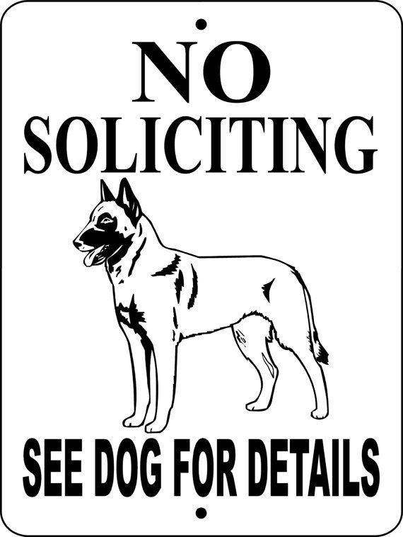 NO SOLICITING Belgian Malinois Dog Sign 9x12 by animalzrule