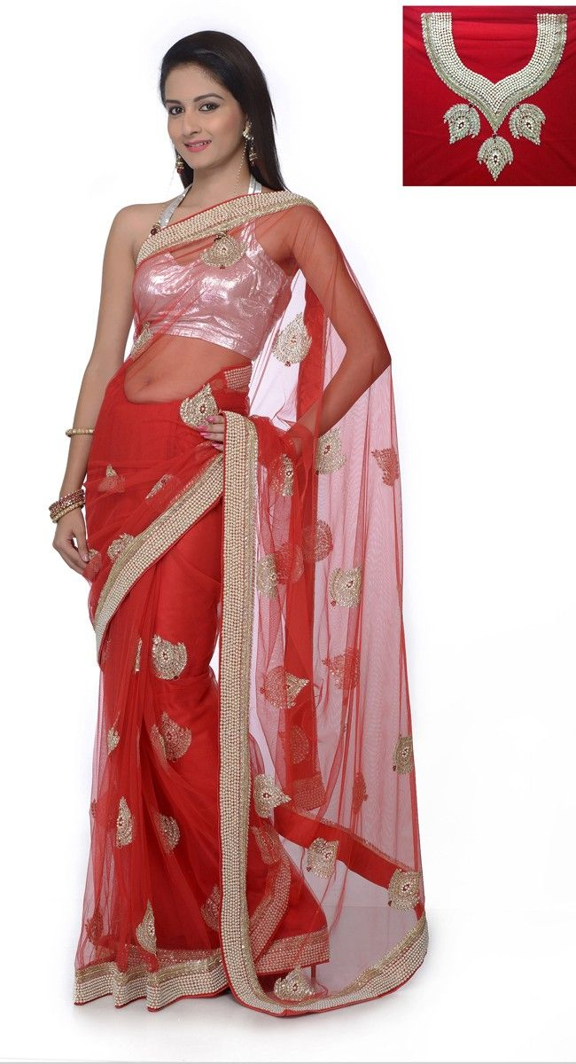 Gleaming Bick Red Embroidered #Saree