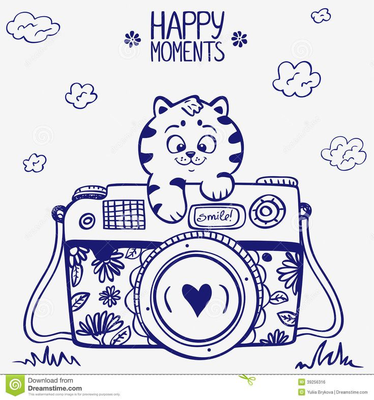 camera-kitten-illustration-sketch-vintage-retro-photo-cute-39256316.jpg (1300×1390)
