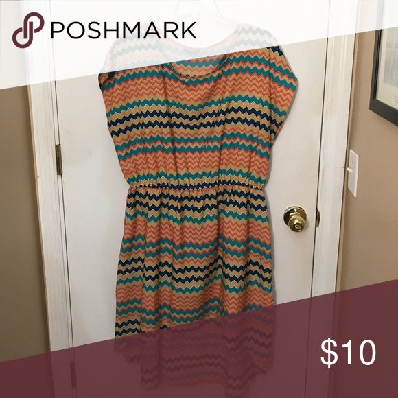 High Low dress tan blue turquoise orange chevron Gently used (Worn 2-3 times) // Cinched at the waist // Low in the front ( approx. 1 inch above the knee) and low in the back // coming from a pet and smoke free environment // Dresses High Low
