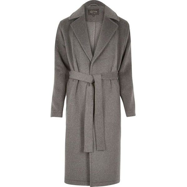 River Island Grey wool wrap coat (225 CAD) ❤ liked on Polyvore featuring men's fashion, men's clothing, men's outerwear, men's coats, coats, mens gray pea coat, mens grey coat, mens wool coat, mens wool outerwear and mens gray wool coat