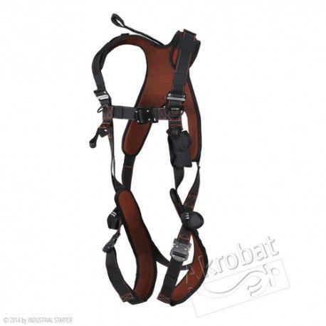 ARNES EXCLUSIVO Referencia  AK350 Marca:  Industrial Starter  EN361  Puntos de anclaje: el arnés con la anilla y prolongador hasta el enganche dorsal y anillas para la fijación frontal. La parte superior es elástica. Hebillas de liberación rápida.  Accesorios: espalda acolchada y otros (ver características arriba).  Embalaje: 1 pz (mochila incluída)