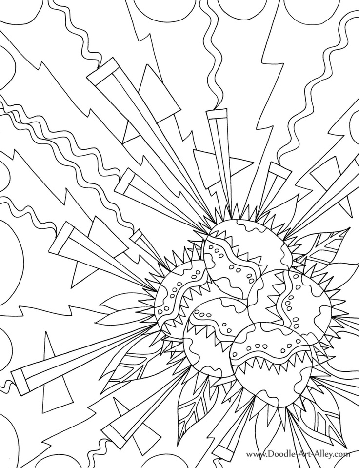 geometric explosion adult coloring page