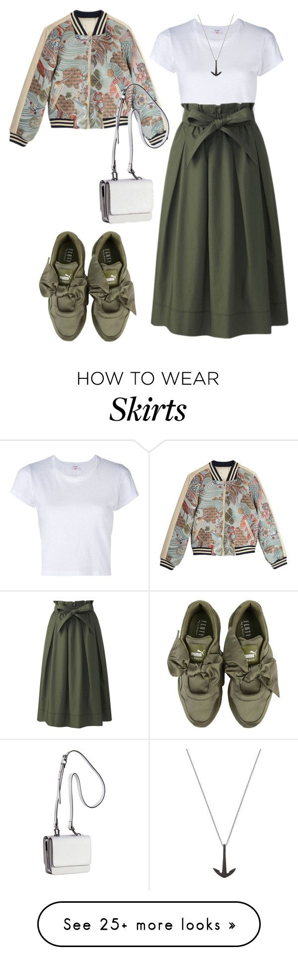 """bomber jacket and midi skirt"" by asti-pramitha on Polyvore featuring RE/DONE, Uniqlo, Puma, MIANSAI, Maje and Kendall + Kylie"