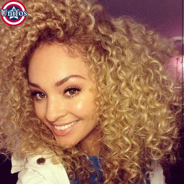 Rubia Brasileña Virginal Del Pelo Rizado Rizado 3 Paquetes Honey Blonde Blonde Extensiones de Cabello Humano Brasileño Rizado Extensiones de Cabello 27 #