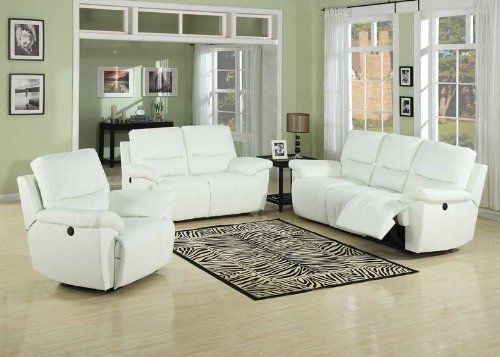 New 2 pc Javier white bonded leather upholstered power motion sofa and love seat set with recliners on each end This set features a power motion recliner on New - Elegant Leather sofa and Loveseat Sets Style