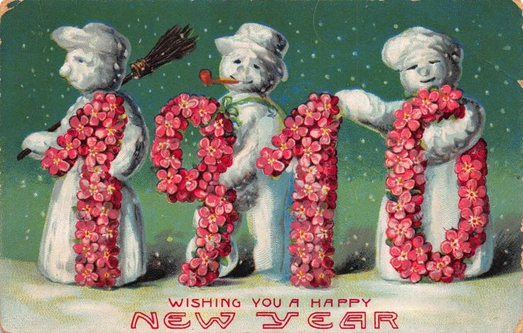 New Year Postcard Fantasy Snowmen Holding 1910 Large Letters~113183 #NewYear