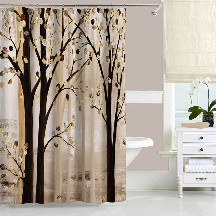 Brown And Beige Art Shower Curtain With Trees