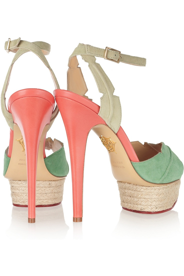 OBSESSED <3 <3 <3 <3 <3 <3 Charlotte Olympia | Isla palm leaf suede and leather sandals | NET-A-PORTER.COM
