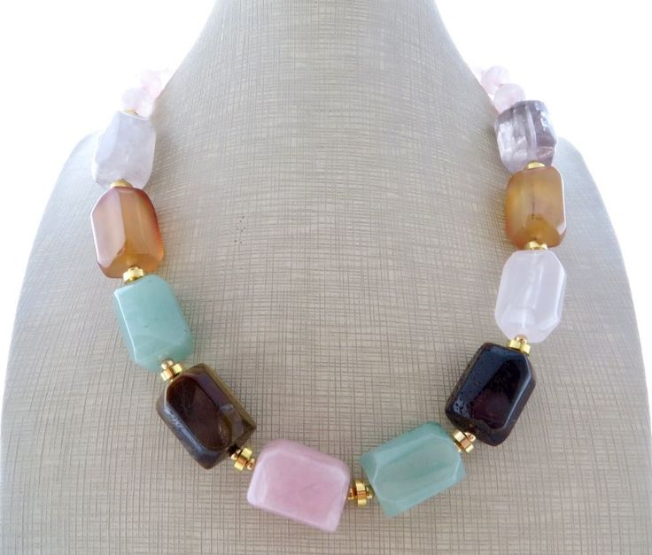 Collana con pietre di quarzo rosa, agata verde, ametista viola, gioielli, bijoux