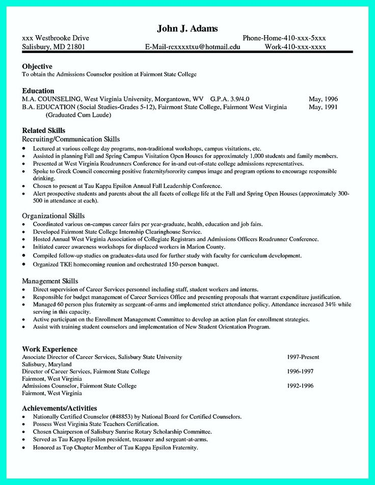 College application report writing resume