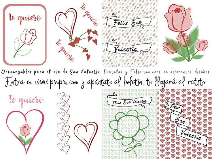#descargables #SanValentín entra en la web www.pimpiu.com apúntate al boletín, al final de la página y en un ratito recibirás los descargables #felicitaciones #postales #efectoacuarela #acuarela #diseños diferentes
