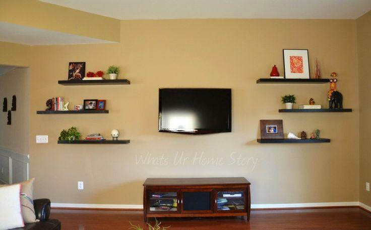 best 25 shelves around tv ideas on pinterest. Black Bedroom Furniture Sets. Home Design Ideas