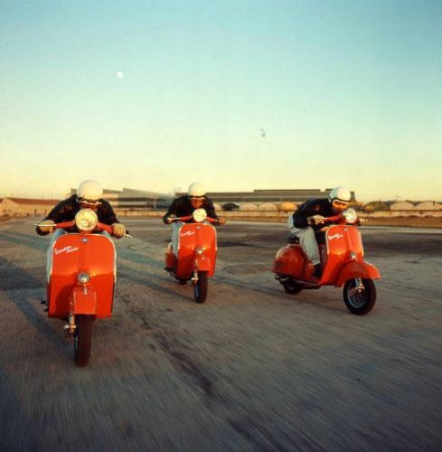Racing Vespas on the old runway at Wendover