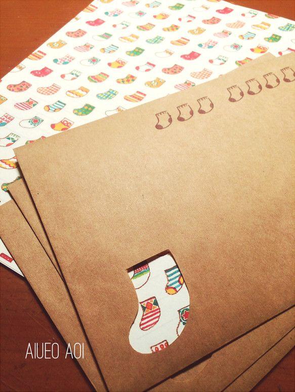 くつした柄のレターセット|レターセット・封筒・便せん|ハンドメイド通販・販売のCreema
