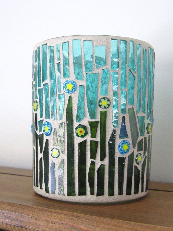 Stained Glass and Millefiori Mosaic Candle by valleybeadglassart                                                                                                                                                                                 More