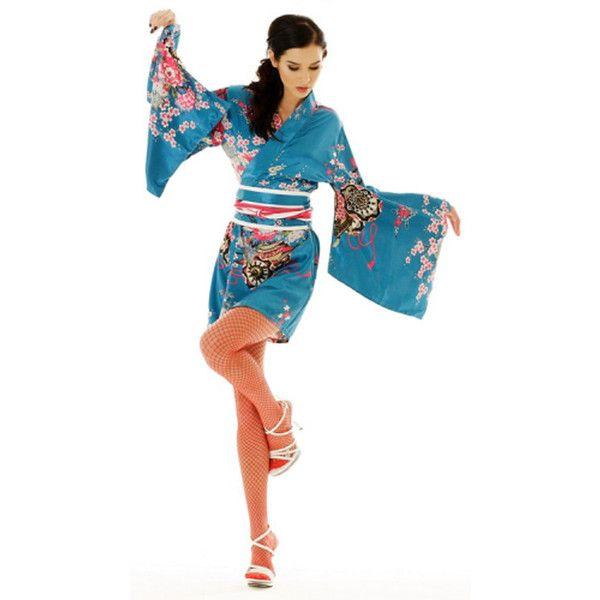 Pop-Up Image Short Yukata Robe - Kimono Online ❤ liked on Polyvore featuring intimates, robes, kimono robe, robe kimono, short kimono robe, kimono dressing gown and short kimono