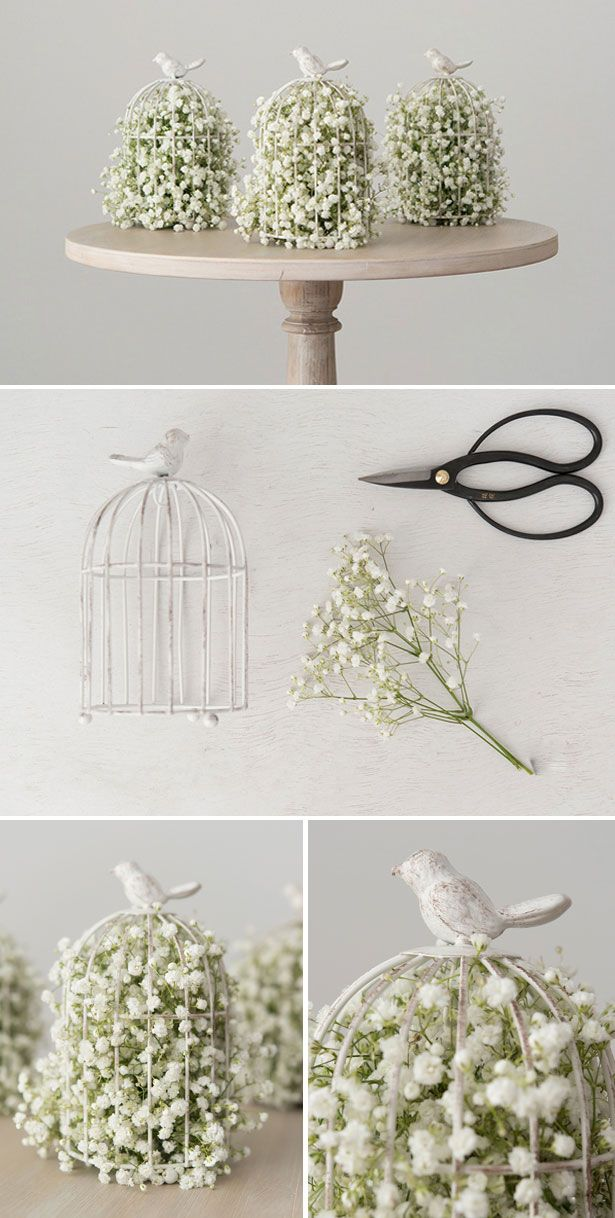 DIY Birdcage with baby's breath centrepiece | Confetti.co.uk | Vintage, bridecage, decor | #wedding