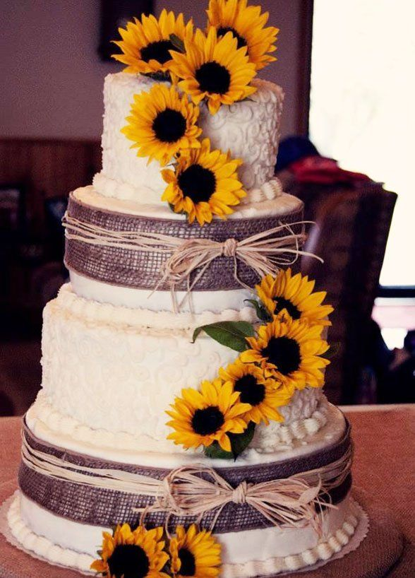 12 Fabulous Wedding Cake Ideas For Fall: #12. Bright and beautiful sunflowers add a touch of autumn to this country chic wedding cake.