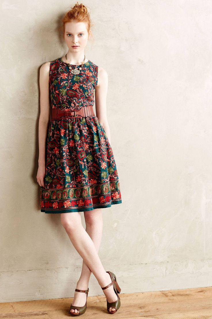 Needlepoint Garden Dress - anthropologie.com - Kashmiri Embroidery. Saw a woman walk down the street with this one the other day and it was even better in person!