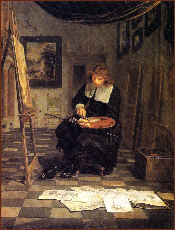 Van de Velde the Younger at Work (c.1665). Michiel van Musscher (Dutch, 1645-1705). Oil on panel. Vienna, Liechtenstein Museum