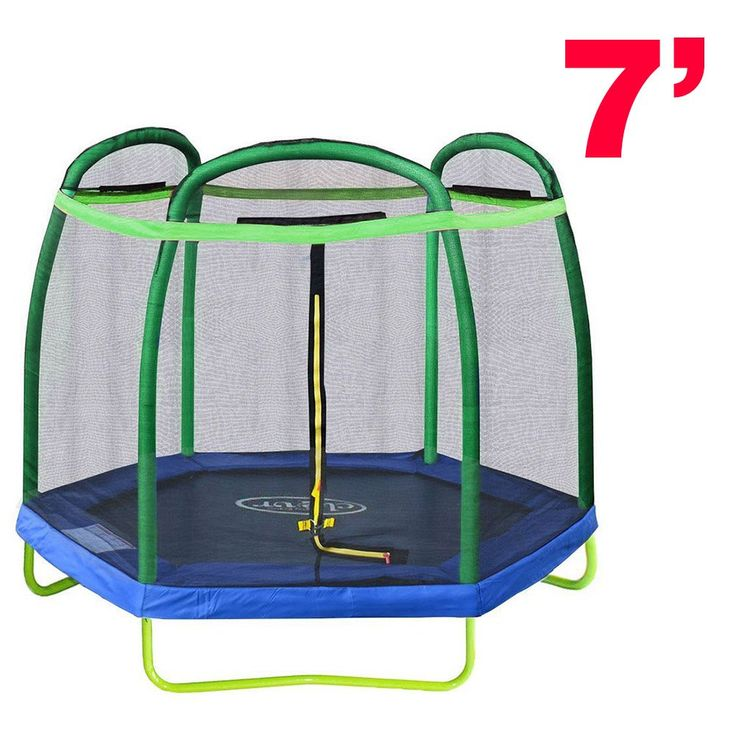 New Clevr 7FT Trampoline Bounce Jump Safety Enclosure Net W/ Spring Pad Round