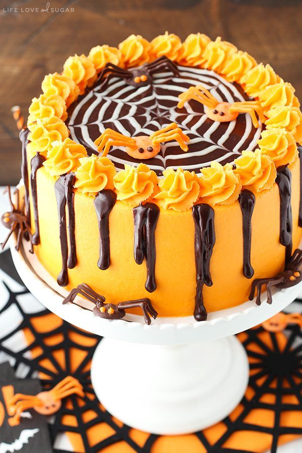 Spiderweb Chocolate Cake with Vanilla Frosting