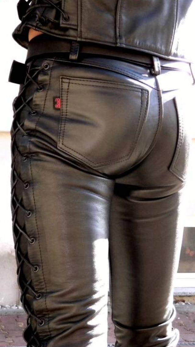 63e9f9f7422a Side laced black leather pants bottom