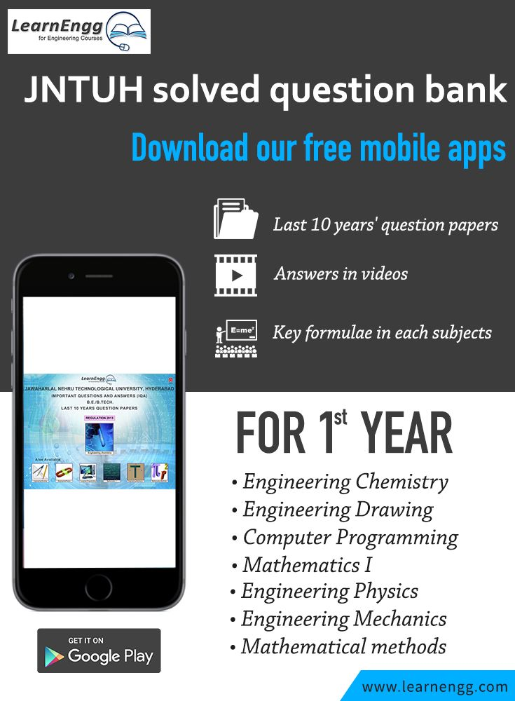 Download LearnEngg's mobile applications for JNTUH solved question bank - 1st year subjects. [Click on the image] #learnengg #jntu #app