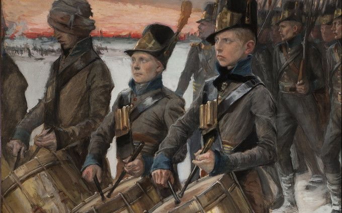 """Albert Edelfelt: Porilaisten marssi (March of the People from Pori), 1900. The drummers of the Pori regiment are giving rhythm to the march. The scene was inspired by """"The Tales of Ensign Stål"""", an epic poem about Finnish War by the national poet, Johan Ludvig Runeberg. In the war Sweden suffered disastrous losses and it's status as a great power vanished along with territorial losses, including Finland, which became autonomous grand duchy of the Russian Empire. Note the young age of the…"""