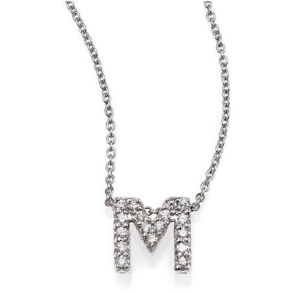 Roberto Coin Tiny Treasures Diamond & 18K White Gold Love Letter... ($464) ❤ liked on Polyvore featuring jewelry, necklaces, m, letter necklace, diamond initial pendant, 18k white gold necklace, diamond initial necklace and diamond necklace pendant