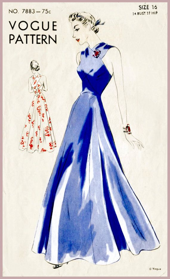 30s 1930s vintage pattern evening dress ball gown halter bust 34 b34 repro reproduction