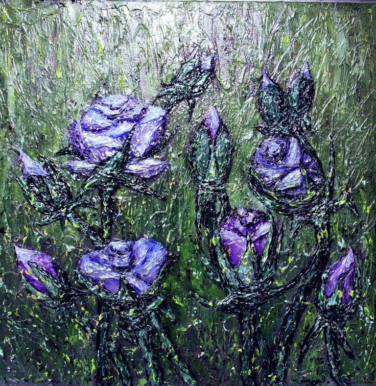 """Rose dance"" c/a, palett-knife, picture by Marina RAYKOVA"