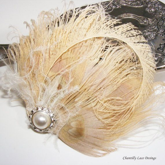 Bleached Peacock Feather Hair Clip  fascinator by ChantillyLaceDesigns made in Edmonton