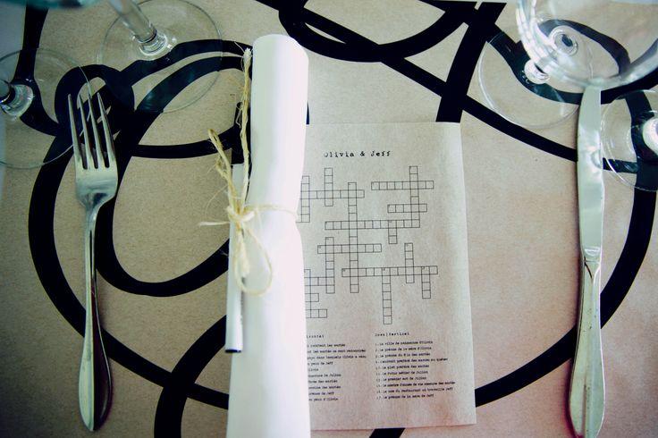 wedding table, crosswords,