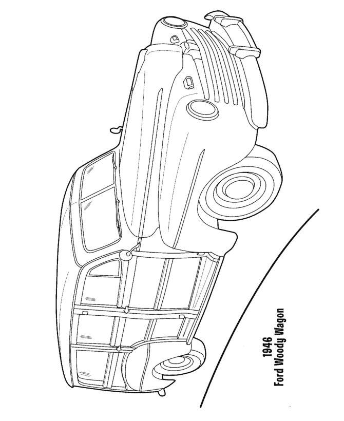 woody wagon cars and automobiles colouring pages