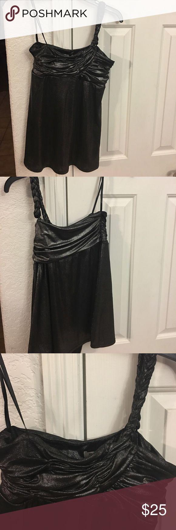 🔥SALE🔥BCBGeneration Shimmer one shoulder top  M BCBGeneration Shimmer Top One Shoulder braided shoulder strap Shimmer dark pewter gray Medium BCBGeneration Tops