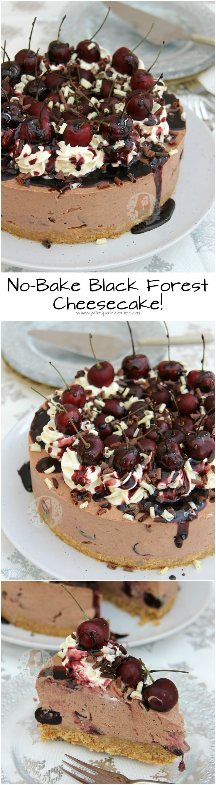 No-Bake Black Forest Cheesecake!! Biscuit Base, Chocolate & Cherry Kirsch Cheesecake Filling, Vanilla Cheesecake, Fresh Cherries & even more Chocolate.